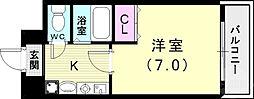 バッハレジデンス神戸ウエスト 7階1Kの間取り