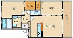 近鉄長野線 喜志駅 徒歩10分の賃貸マンション 1階2LDKの間取り
