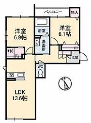 JR津山線 法界院駅 徒歩16分の賃貸マンション 3階2LDKの間取り