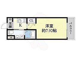 Osaka Metro谷町線 千林大宮駅 徒歩6分の賃貸マンション 3階1Kの間取り