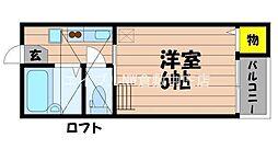 JR山陽本線 新倉敷駅 徒歩9分の賃貸アパート 2階1Kの間取り