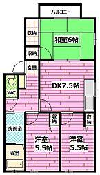 広島県広島市安佐南区西原7丁目の賃貸アパートの間取り