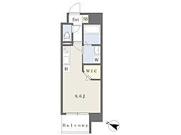 JR豊肥本線 熊本駅 徒歩9分の賃貸マンション 7階ワンルームの間取り