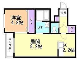 仮)宮の沢1-2MS 3階1LDKの間取り
