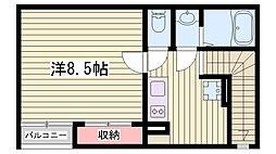 山陽電鉄本線 西新町駅 徒歩20分の賃貸アパート 2階1Kの間取り