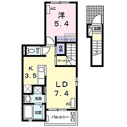 神奈川県厚木市関口の賃貸アパートの間取り