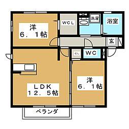D−roomリベルテ[1階]の間取り