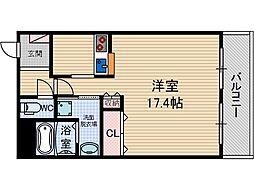 ソレイユ 2階ワンルームの間取り