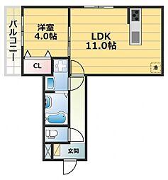 ヴィーブル高井田[1階]の間取り