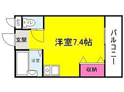 大阪府堺市北区中百舌鳥町6丁の賃貸アパートの間取り