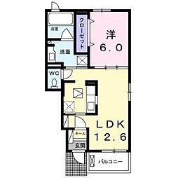 兵庫県明石市南貴崎町の賃貸アパートの間取り