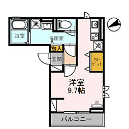クラリス 3階ワンルームの間取り
