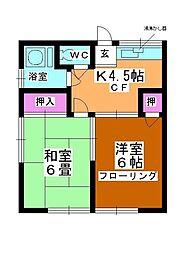 第2矢ヶ崎荘[102号室]の間取り