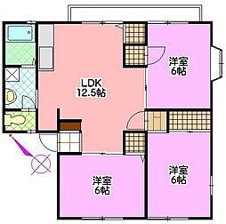 茨城県つくばみらい市絹の台5丁目の賃貸アパートの間取り