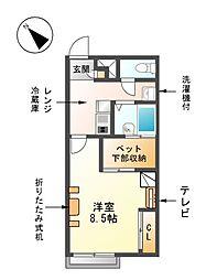 愛知県海部郡蟹江町源氏1丁目の賃貸アパートの間取り