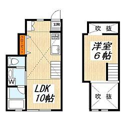 東急田園都市線 三軒茶屋駅 徒歩7分の賃貸アパート 1階1LDKの間取り