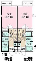 クロスコート町田 A棟 1階1Kの間取り