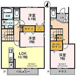 阪神本線 芦屋駅 徒歩7分の賃貸アパート 2階3LDKの間取り