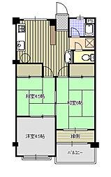 紫房苑1号棟B[3階]の間取り