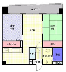 JR片町線(学研都市線) 寝屋川公園駅 徒歩2分の賃貸マンション 5階2LDKの間取り