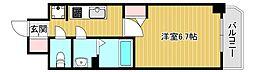 スプランディッド難波元町DUE 3階1Kの間取り