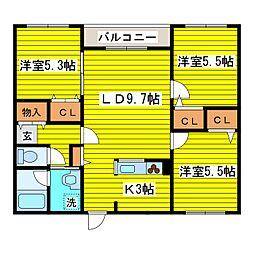北海道札幌市東区北二十七条東19丁目の賃貸マンションの間取り