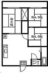 レピュート石川[C102号室]の間取り