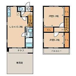 [一戸建] 福岡県中間市中間3 の賃貸【/】の間取り