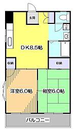 東京都東村山市野口町3丁目の賃貸マンションの間取り