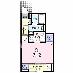 広島電鉄宮島線 佐伯区役所前駅 徒歩16分の賃貸アパート 1階ワンルームの間取り