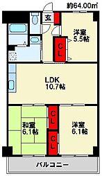 福岡県北九州市八幡西区則松6丁目の賃貸マンションの間取り