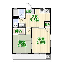グリーンハイツ綾瀬[4階]の間取り