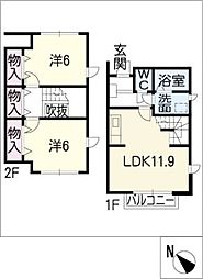 [タウンハウス] 愛知県刈谷市井ケ谷町寺山 の賃貸【/】の間取り