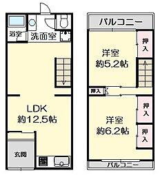 JR片町線(学研都市線) 鴫野駅 徒歩10分 2LDKの間取り