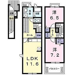 東京都国立市青柳2丁目の賃貸アパートの間取り