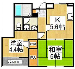 コロンバインプラザB棟[1階]の間取り