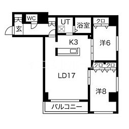 新築レゾ札幌 5階2LDKの間取り