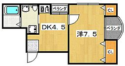コーポ北中振[3階]の間取り