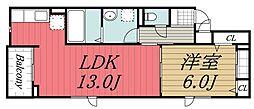 JR内房線 長浦駅 徒歩15分の賃貸アパート 3階1LDKの間取り
