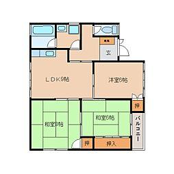 奈良県生駒郡三郷町立野南2丁目の賃貸アパートの間取り