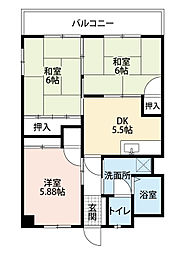 福岡県北九州市小倉南区湯川5丁目の賃貸マンションの間取り