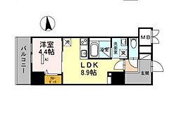 グランセジュール江坂 住居[0803号室]の間取り
