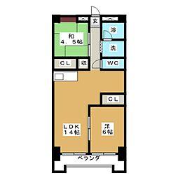 アールイーステージ蟹江(黒川ビル)[3階]の間取り