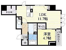 ジ・アドレス梅田 5階1LDKの間取り