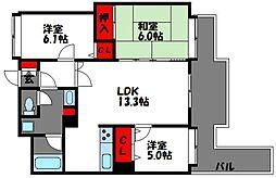 ソロン名島[5階]の間取り