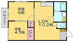 センターフジ1[2階]の間取り