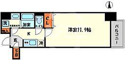 エスリード大阪心斎橋 3階1Kの間取り