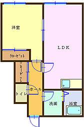 和歌山県海南市船尾の賃貸アパートの間取り