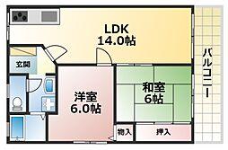 北野マンション2号棟[4階]の間取り