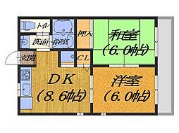 大阪府堺市堺区浅香山町2丁の賃貸アパートの間取り